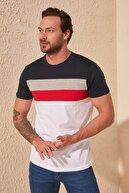TRENDYOL MAN Lacivert Erkek Çizgili Slim Fit T-Shirt TMNSS20TS0166