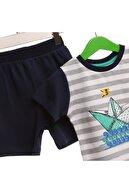 HelloBaby Erkek Bebek Lacivert Çizgili Tekne Baskılı Alt Üst Takım