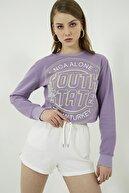 Vis a Vis Kadın Lila Yazı Baskılı Crop Sweatshirt