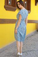 armonika Kadın Bebe Mavi Desenli Beli Lastikli Bağlamalı Elbise ARM-18Y001121