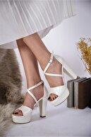 LİLLA AYAKKABI Kadın Beyaz Kalın Topuklu Platformlu Gelinlik Ayakkabısı