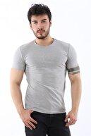 Arlin Erkek Sıfır Yaka Likralı Slim Fit Gri T-shirt