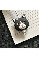 SUPPO Sevimli Silikon Kablo Koruyucu Siyah Kedi
