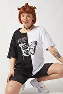 Ef Butik Siyah Beyaz Çift Renk Kelebek Tişört