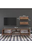 Rani Mobilya Rani A9 Duvar Raflı Kitaplıklı Tv Ünitesi Modern Ayaklı Tv Sehpası Ceviz M48