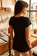Olalook Kadın Siyah Çıtçıtlı Kaşkorse T-Shirt BLZ-19000171