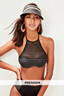 TRENDYOLMİLLA Siyah Fileli Lurex İplik Halter Yaka Üst Yüksek Bel Alt Bikini Takımı  TBESS19WN0007