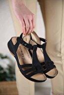 Ccway Kadın Siyah Kot Cırtlı Sandalet