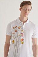 Avva Erkek Beyaz Polo Yaka Baskılı T-shirt A11y1081