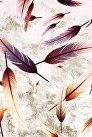 Sermod Renkli Tüy Desenli Kaymaz Süngerli Halı Örtüsü