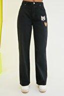 TRENDYOLMİLLA Siyah Tom & Jerry Lisanslı Baskılı Yüksek Bel Wide Leg Jeans TWOSS21JE0043