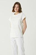 Network Kadın Basic Fit Beyaz Garnili T-shirt 1079440