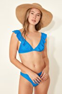 C City Üçgen Fırfırlı Bikini Takım 3109 Mavi