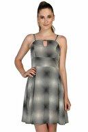 Dükkan Moda Kadın Desenli Siyah Beyaz Elbise ELBS10002