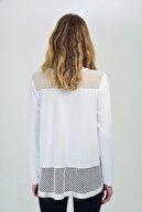 Hanna's Kadın Beyaz V Yaka Dantel Detay Uzun Kollu Bluz Hn1422