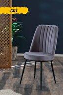 Mymassa Gold Sandalye Gri - Metal Siyah Ayaklı