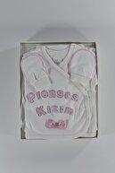 Mersevkids Kız Bebek Beyaz Pamuklu Prenses Kızım Hastane Çıkışı 5li Set