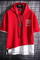 DE PLEIN Unisex Kırmızı Oversize Kapüşonlu % 100 Pamuk T-shirt