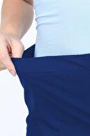 Gül Moda Kadın İndigo Büyük Beden Beli Lastikli Pantolon G00lp