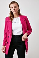 TRENDYOLMİLLA Fuşya Düğmeli Oversize Blazer Ceket TWOAW20CE0130