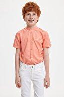 Defacto Rkek Çocuk Regular Fit Keten Görünümlü Kısa Kol Gömlek