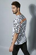 Sateen Men Erkek Beyaz Oversize Şerit Detayli Baskılı T-Shirt STN371ETS135