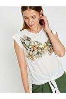 Koton Kadın Ekru T-Shirt 8YAK63698EK