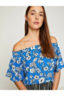 Koton Kadın Mavi Omzu Açık Bluz 8YAK68746PW