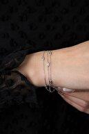 Elika Silver Kadın 3 Sıra Taşlı 925 Ayar Gümüş Bileklik