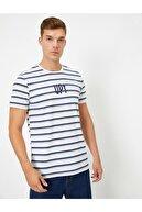 Koton Erkek Gri Bisiklet Yaka Çizgili Yazılı Baskılı T-shirt
