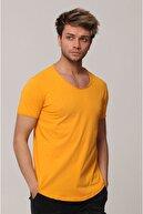 Tarz Cool Erkek Turuncu Pis Yaka Salaş T-shirt