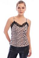 İroni Kadın Leopar Askılı Bluz 3263-1230