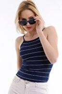 Golden Box Kadın Iki Renk Çizgili Likralı Bluz