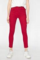 Koton Kadın Kırmızı Normal Bel Cep Detaylı Dar Kesim Pantolon 9KAK43336MW