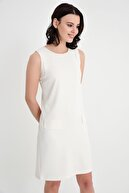 Laranor Kadın Ekru Flato Cep Elbise 19L6603