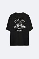 AYYA Unisex Oversize Siyah Good Tımes T-shirt