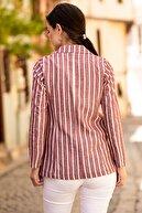 armonika Kadın Bordo Keten Tek Düğmeli Kalın Çizgili Ceket ARM-19Y001079