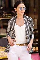 armonika Kadın Siyah Keten Tek Düğmeli Kalın Çizgili Ceket ARM-19Y001079