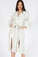 Herry Kadın Bej Çizgili Elbise 10571