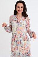 Hanna's Kadın Bej Çiçek Desenli Uzun Kollu Büzgülü Yaka Detaylı Elbise HN1809