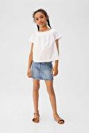 Mango Kırık Beyaz Kız Çocuk Omuzları Açık Koton Bluz 53030748