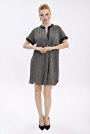 Hanna's Kadın Siyah Melanj V Yaka Elbise HN2033