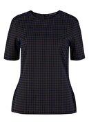 Marks & Spencer Kadın Siyah Ekose Kısa Kollu Üst T41007421