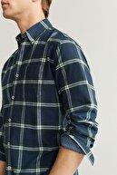 Mango Erkek Haki Renk Regular Kesim Kareli Oduncu Gömlek 67050509