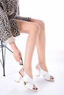 RİKEL DERİ Hakiki Deri Beyaz Kadın Topuklu Deri Ayakkabı Rkl0100