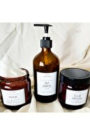 Sıcak Atölye - Amber Cam Şişe - 3'lü Banyo Seti - 2 Adet Kavanoz Ve 1 Adet Şişe