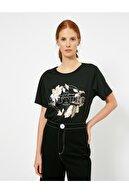 Koton Kadın Siyah Baskili T-shirt 0YAK13257EK
