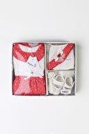 Babydola Kız Bebek Kırmızı Çiçekli 5'li Elbise Seti