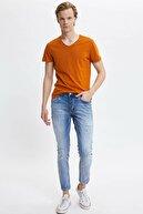 Defacto Erkek Turuncu Basic Slim Fit T-Shirt