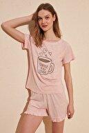 TRENDYOLMİLLA Pudra Coffe Baskılı Örme Pijama Takımı THMSS20PT0181